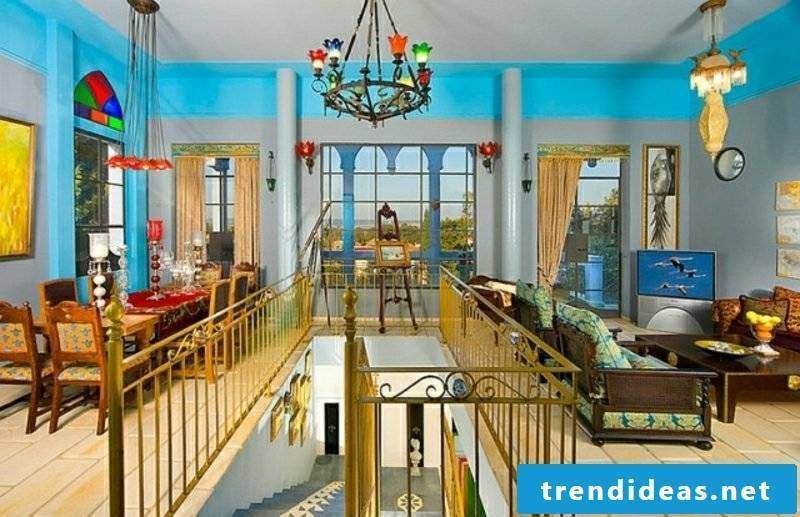 Living room design stairs Moroccan style magical look