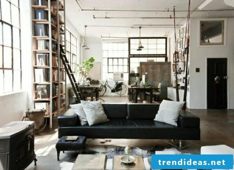 Living room design elegant interior in industrial style