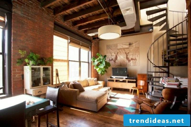 Living room make original steel staircase industrial style
