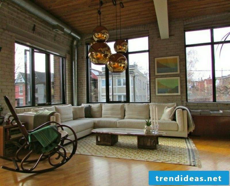 Living room design Chic industrial-style rocking chair original lamps