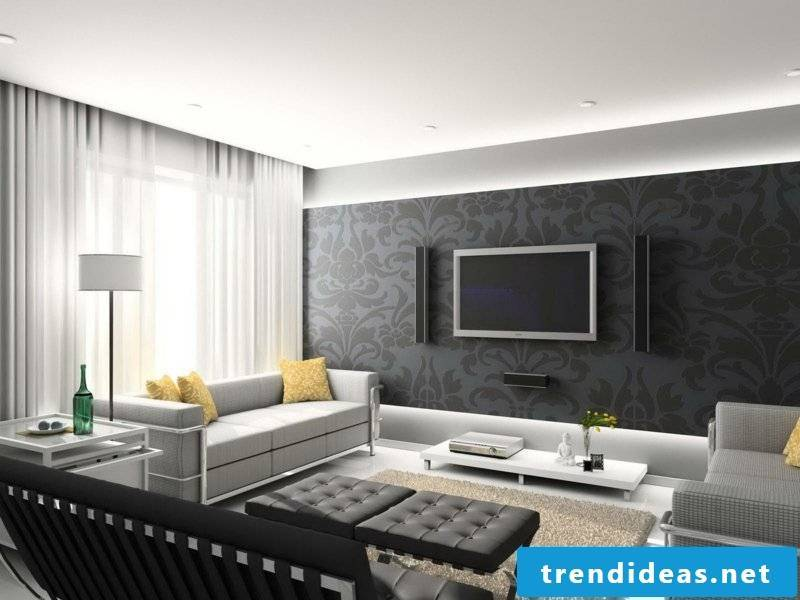 beautiful living room Inspiriton and yellow accents