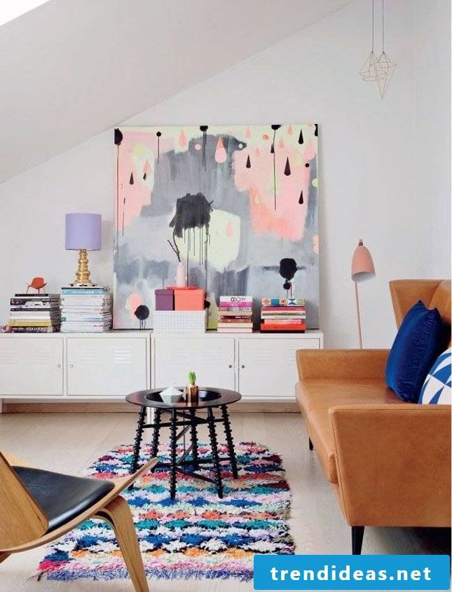 colorful wall design as a spring decoration in the living room