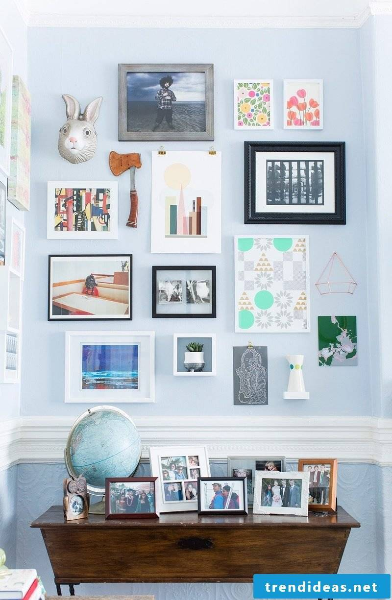 colorful spring decoration in the living room: creative wall design