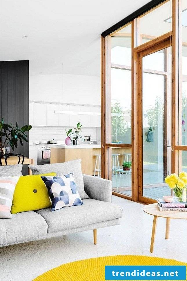 colorful cushions as a spring decoration in the living room