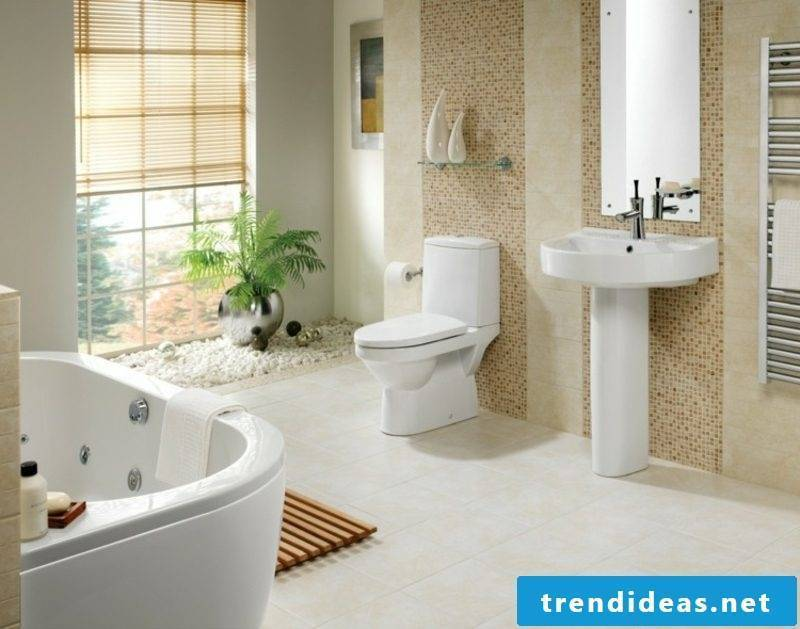 Luxury bathroom accent wall brown mosaic tiles