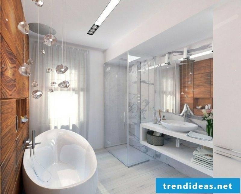 Luxury bathroom large porcelain bathtub white marble tiles original decorations