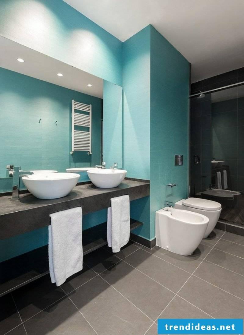 Luxury bathroom in blue and gray countertop washbasin double vanity