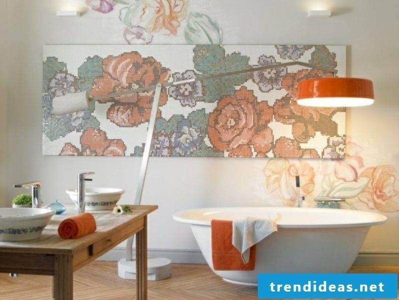 Luxury bathroom splendid accent wall with mosaic tiles
