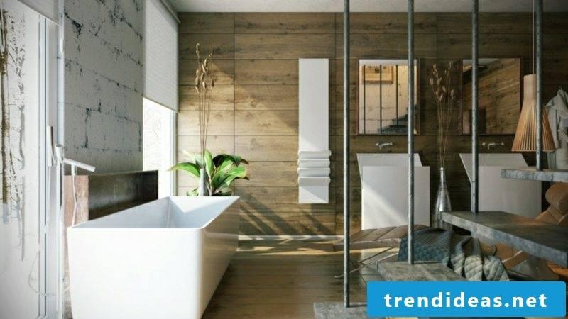 Luxury bathroom wall paneling wood hanging staircase huge bathtub