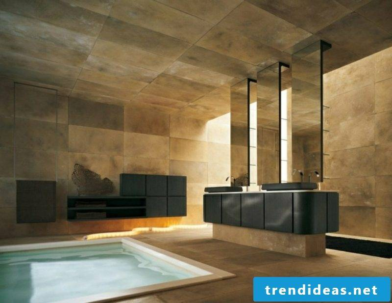 Luxury bathroom gorgeous tiles in golden brown small swimming pool
