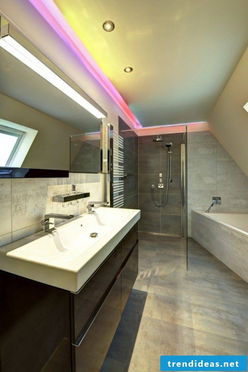 Luxury bathroom indirect LED lighting on the ceiling
