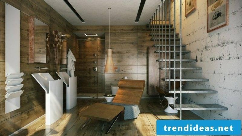 Luxury bathroom wall paneling wood hanging staircase