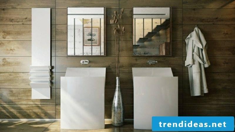 Luxury bathroom Porcelain sink Wall covering wood rustic look