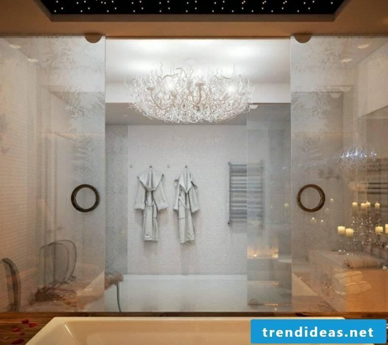 Luxury bathroom gorgeous decor huge bathtub glass frozen ice cream effect