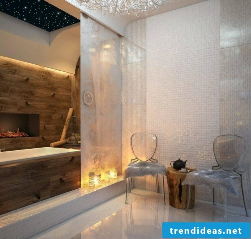 Luxury bathroom fireplace indirect lighting sumptuous ambience
