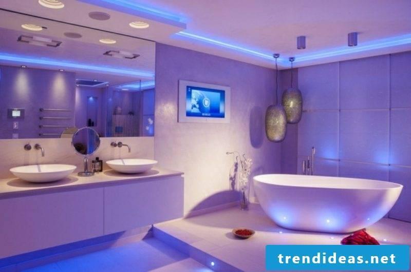 Luxury bathroom indirect LED lighting in blue
