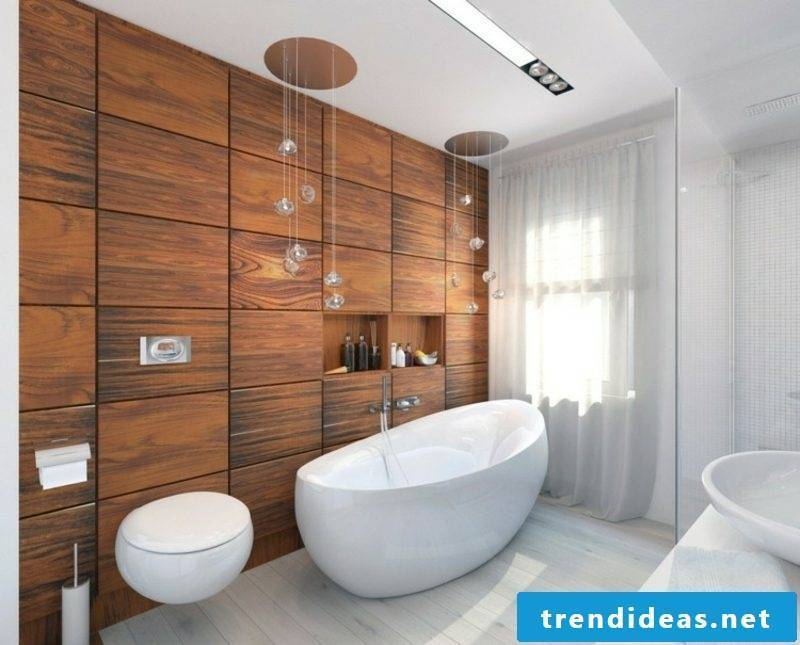 Luxury bathroom accent wall made of cherry wood large bathtub made of porcelain