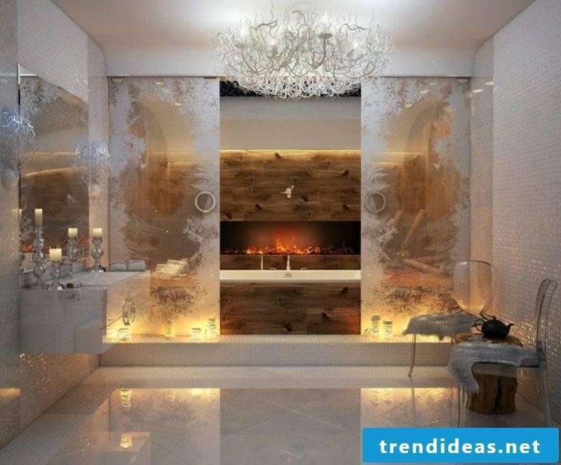 Luxury bathroom crystal chandelier fireplace indirect lighting sumptuous ambience