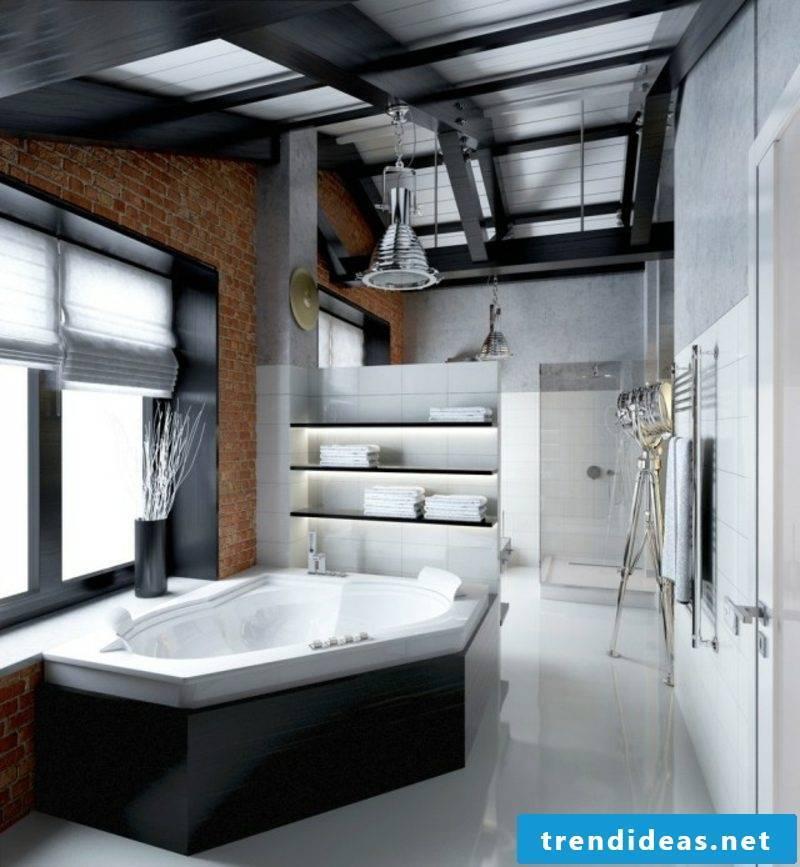 Luxury bathroom geometric shapes industrial style