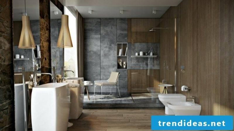 Luxury bathroom interesting wall cladding concrete look