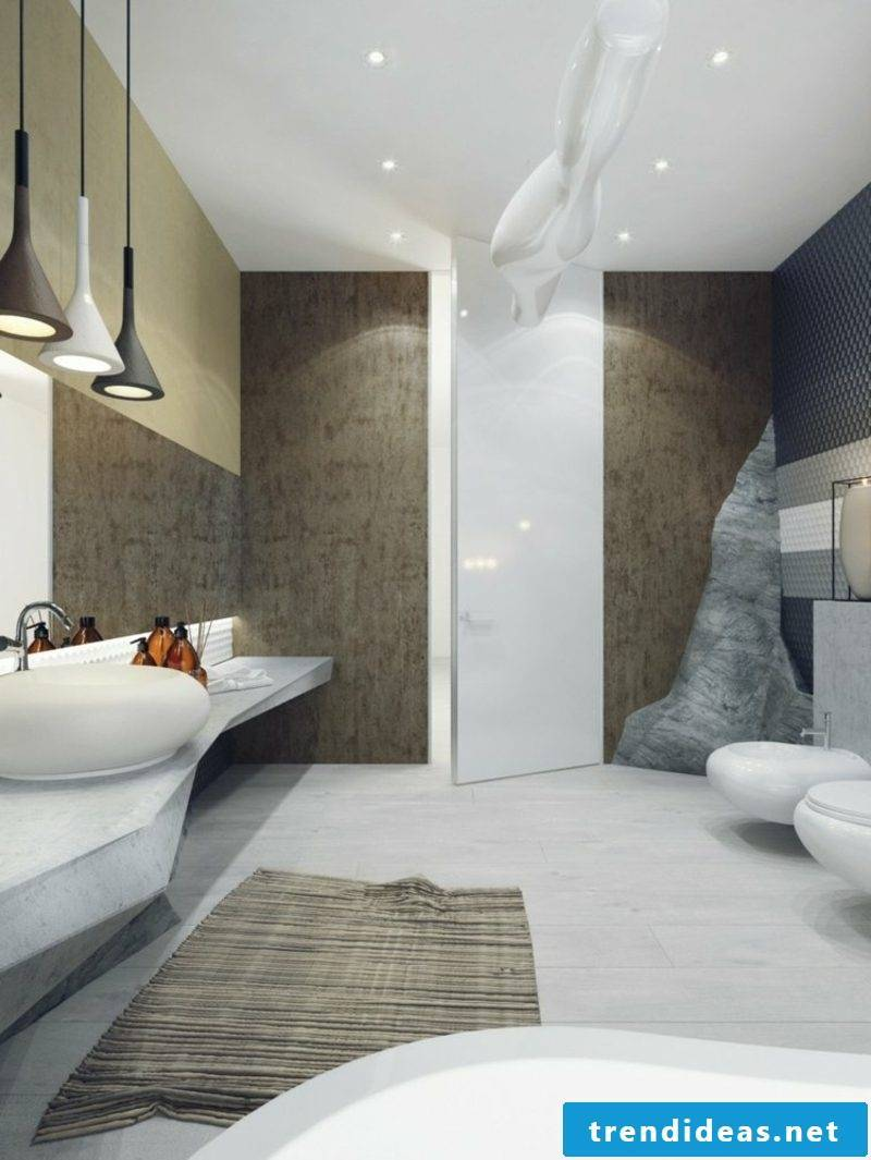 Luxury bathroom neutral colors stone and porcelain