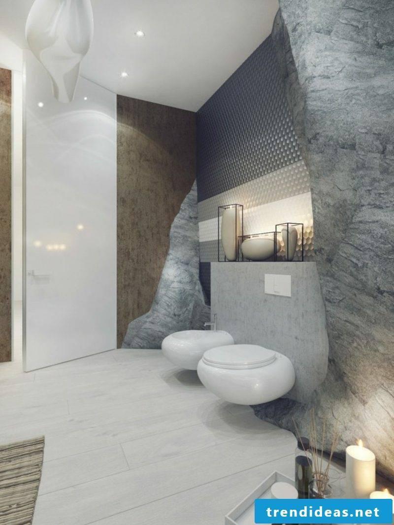 Luxury bathroom fancy wall paneling rock imitation