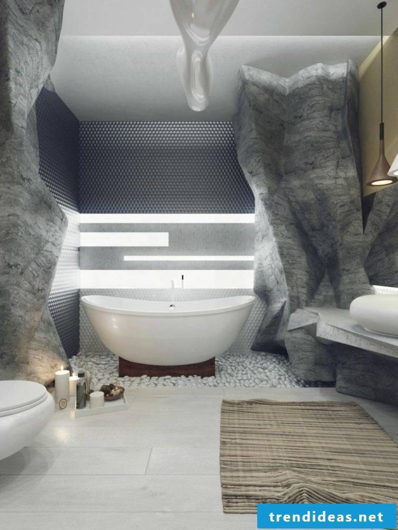 Luxury bathroom wall cladding rock optics bathtub porcelain accent lighting