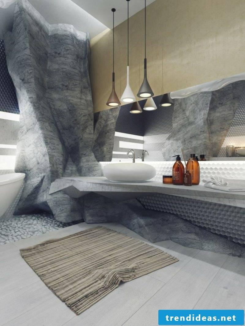 Luxury bathroom wall covering rock imitation