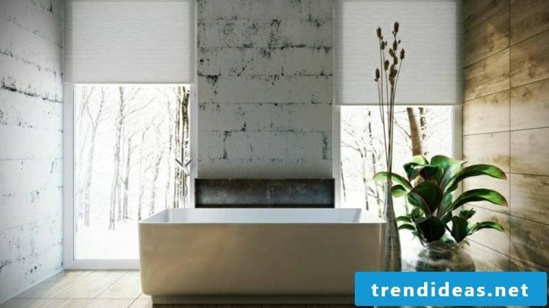 Luxury bathroom huge porcelain bathtub wall cladding concrete look