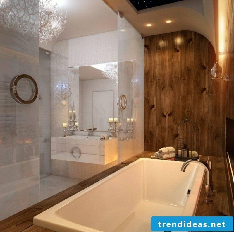 Luxury bathroom wall covering wood huge bathtub