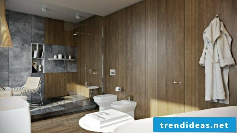 Luxury bathroom wallcovering dark wood glass shower cabin