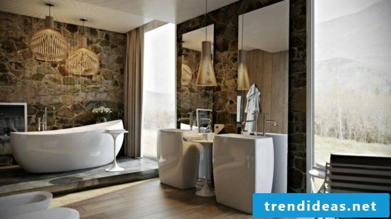Luxury bathroom accent wall natural stone cladding bathtub massive porcelain washbasins