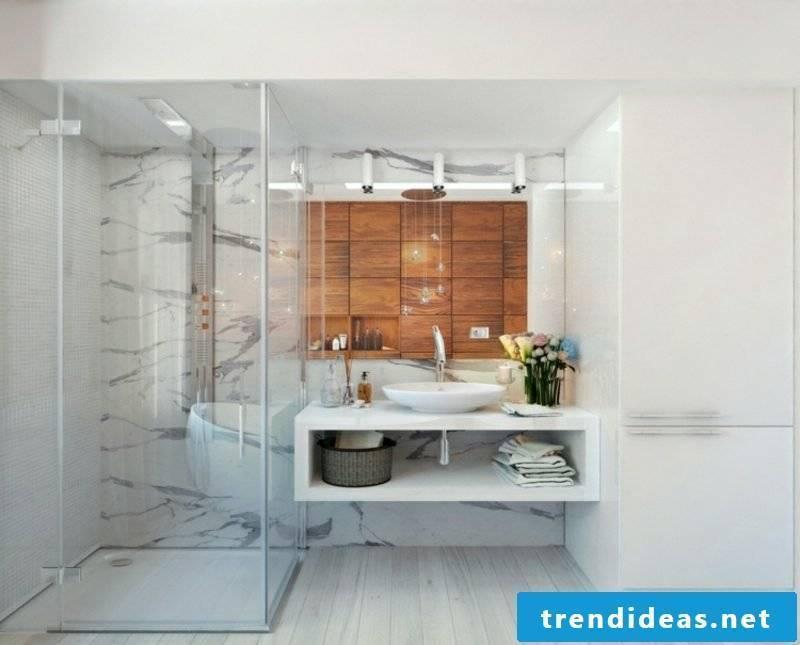 Luxury bathroom marble tile accent wall wood panels