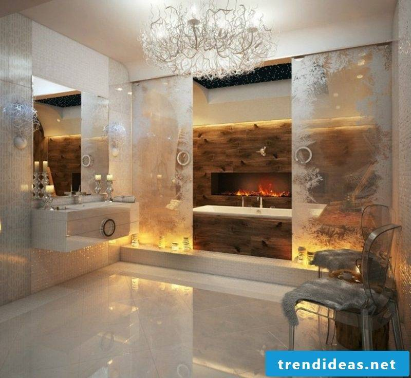 Luxury bathroom fireplace indirect lighting magnificent ambience
