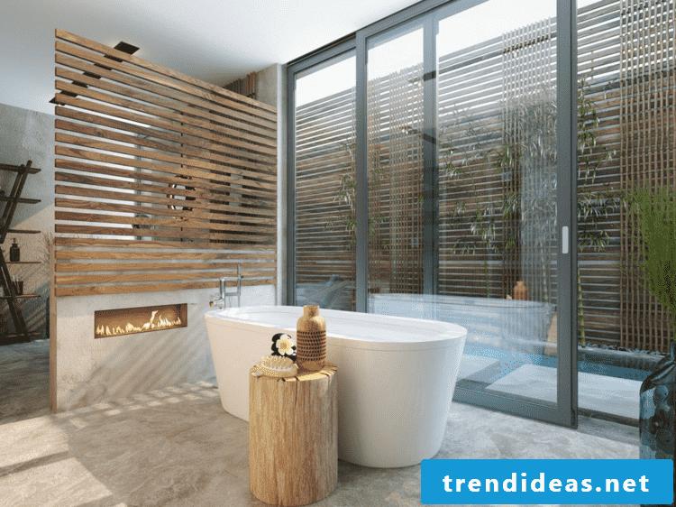 Luxury bathroom partition wood large bathtub porcelain fireplace