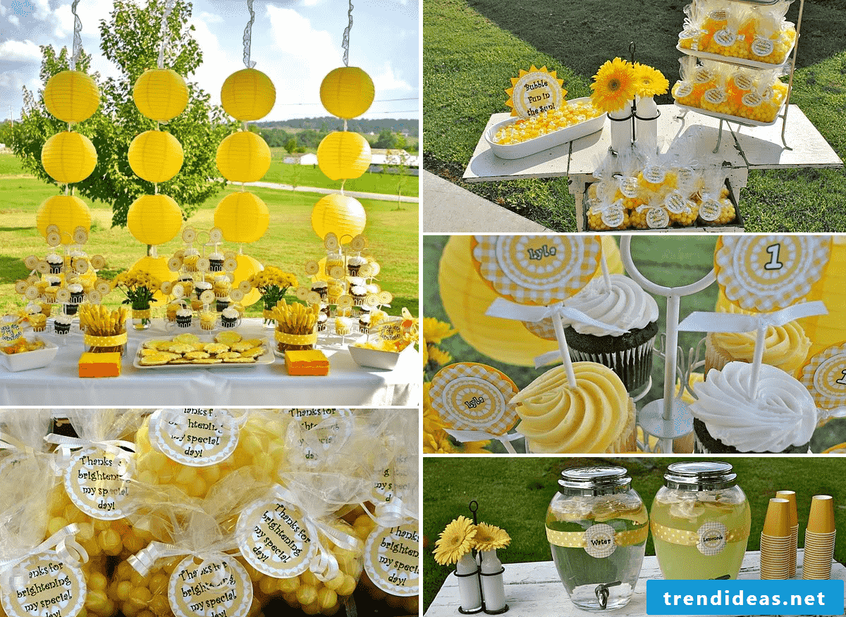 A garden party in yellow