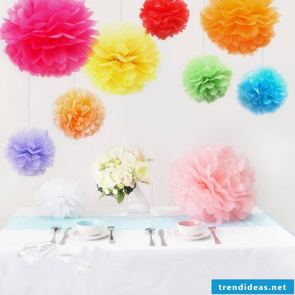 Colorful pompoms for a colorful party