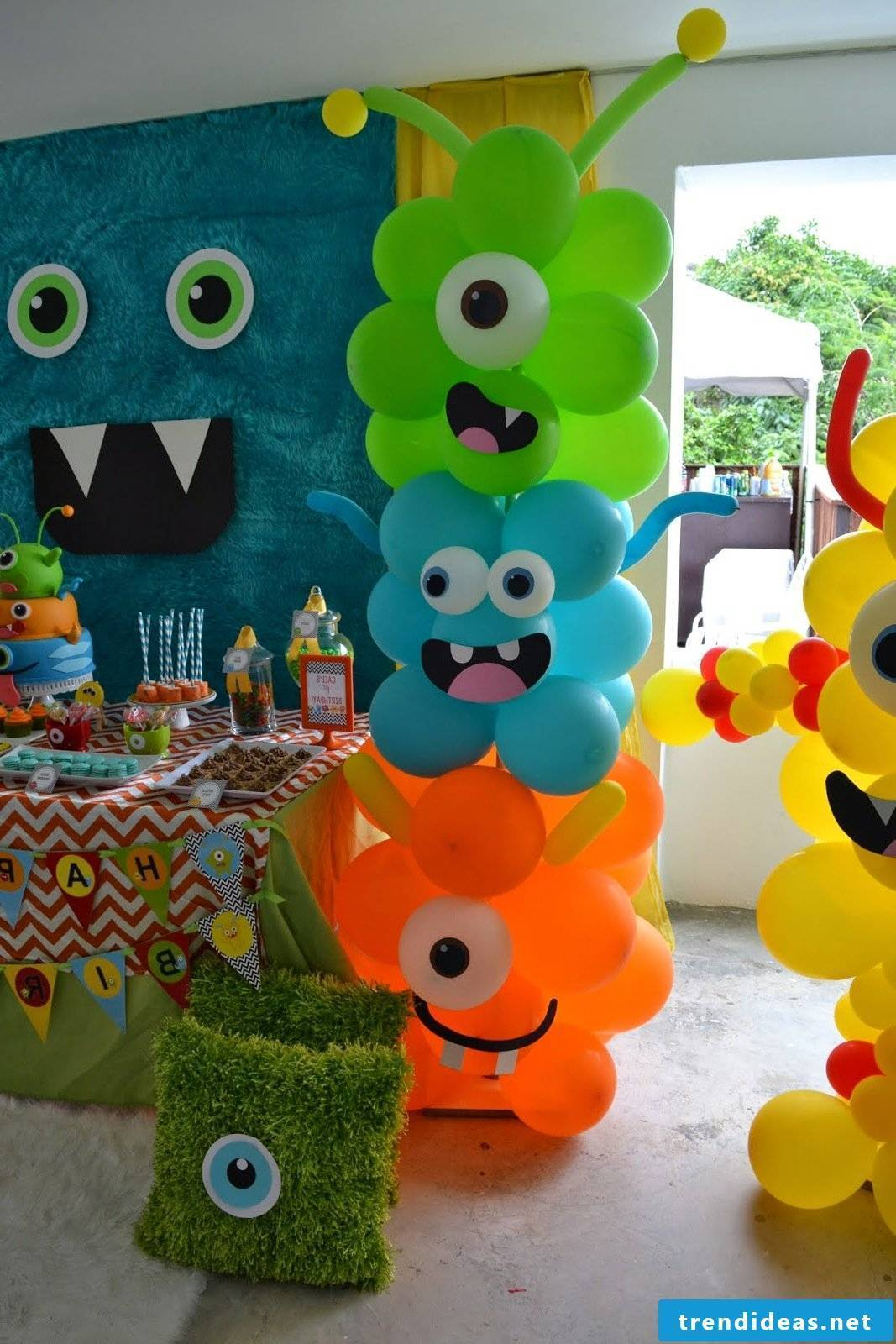 Monster party with many air balloons