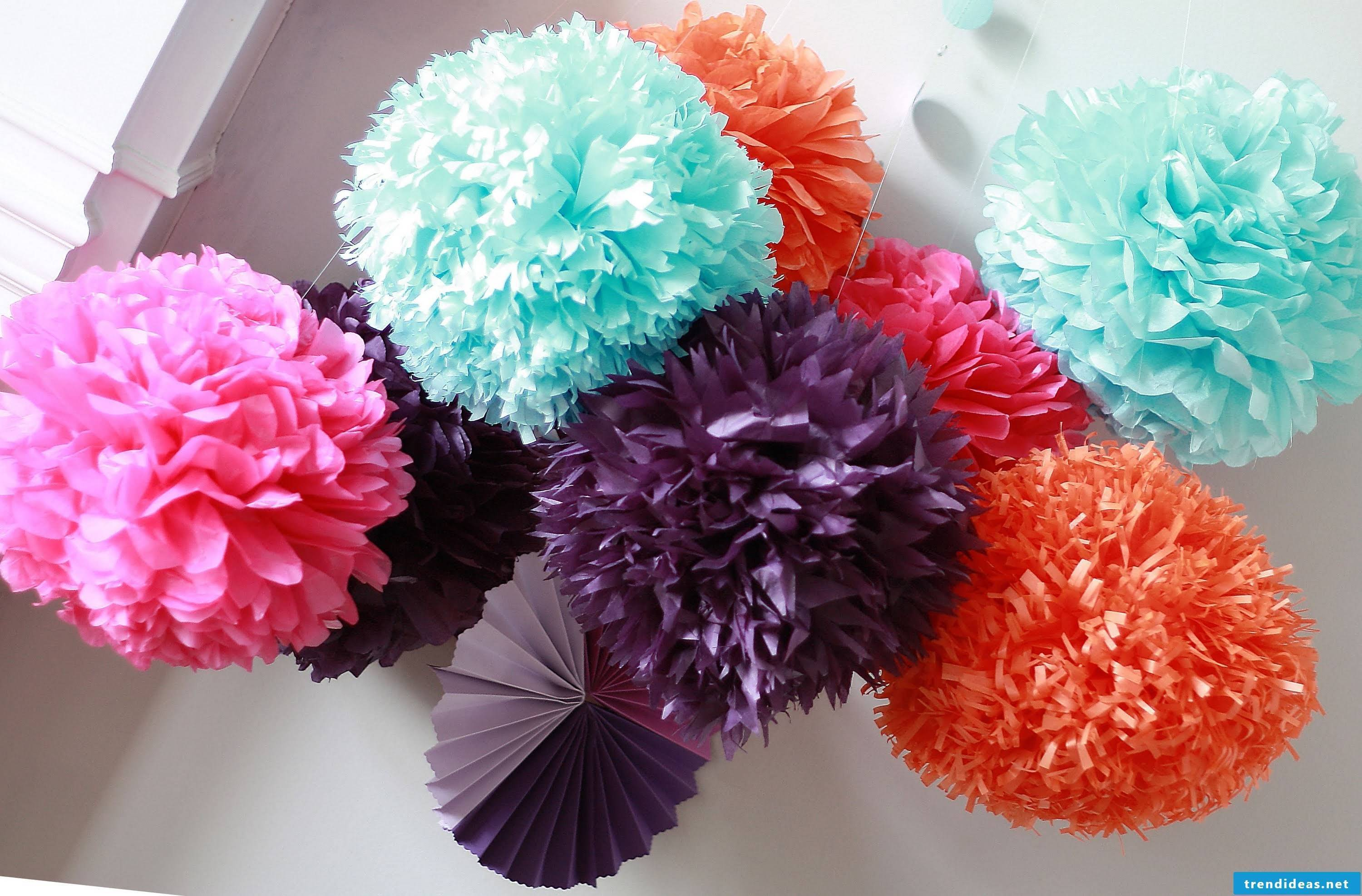 Colorful pompoms for colorful mood