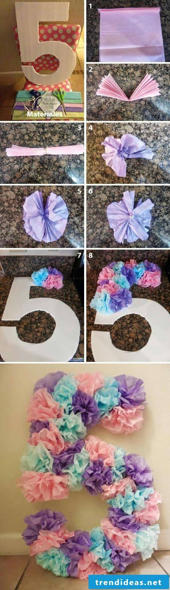 Crafting ideas for children's birthday - party decoration