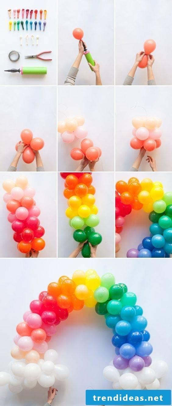 Rainbow from balloons