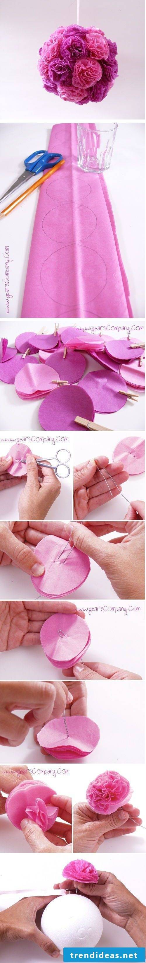 Carnation flower ball make yourself - instructions