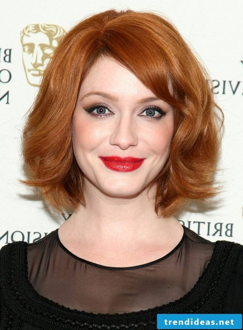 Bob hairstyle long nuance copper red