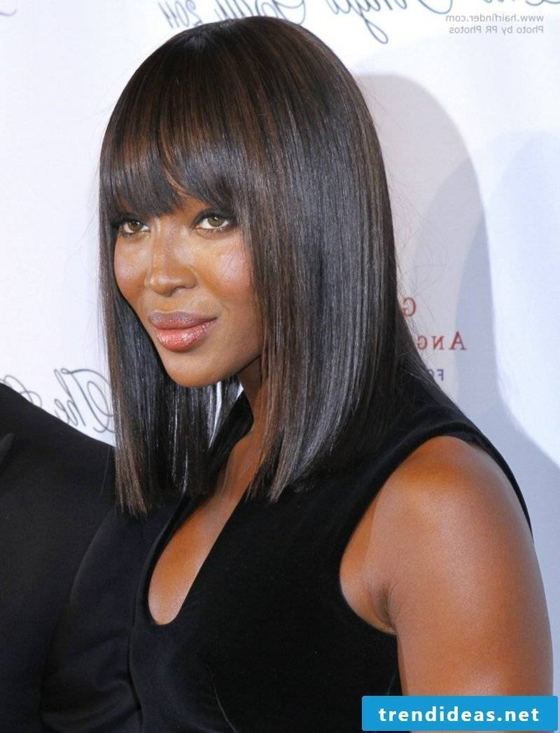 Bob hairstyle long Naomi Campbell