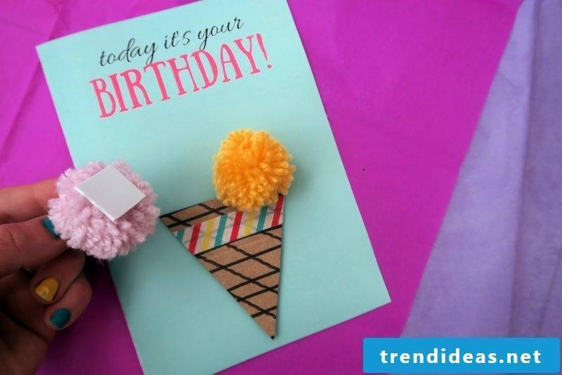 A guide for those who like to sew - making birthday cards with pom poms