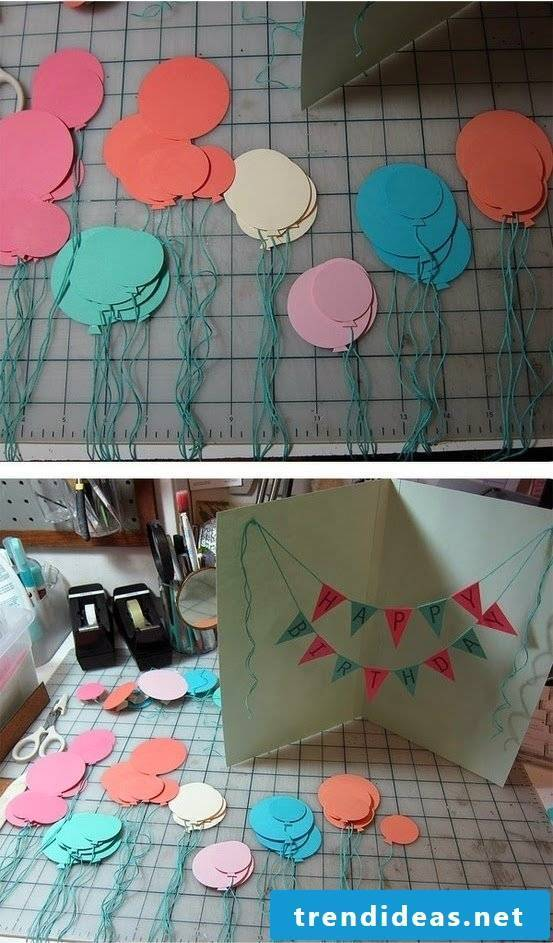 Balloons make birthday card yourself - instructions