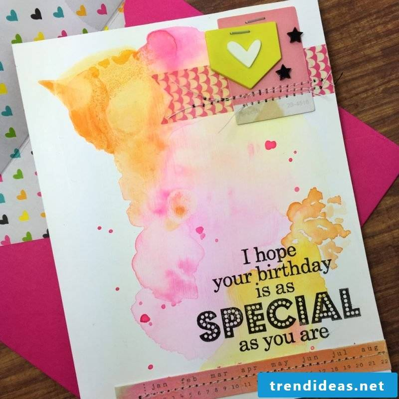 Paint birthday cards with watercolor paints