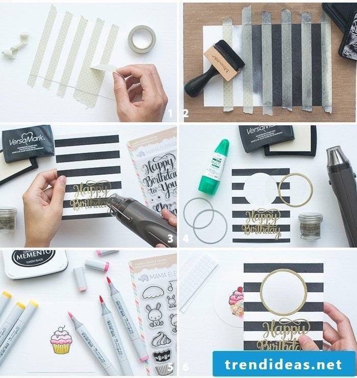 Make a birthday card yourself - DIY instructions