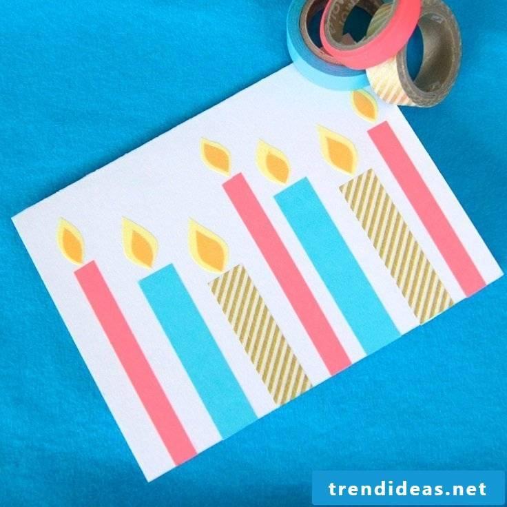 Make a birthday card yourself - Washi Tape