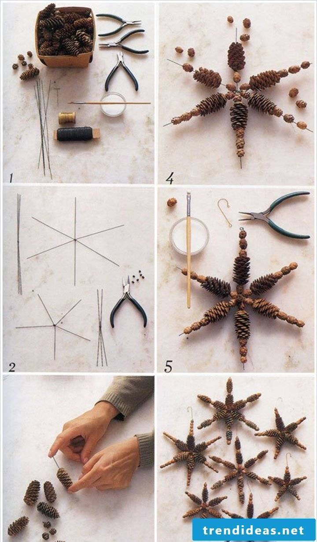 A Christmas star made of pine cones